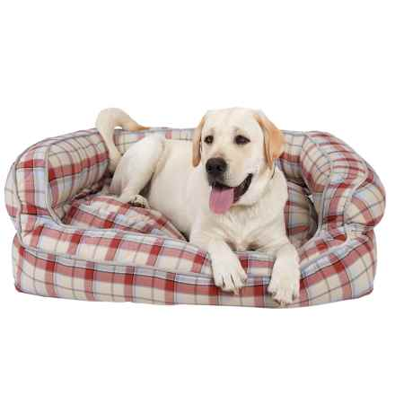 """Live Love Bark Natural Plaid Bolster Dog Bed -36x27"""" in Tan - Closeouts"""
