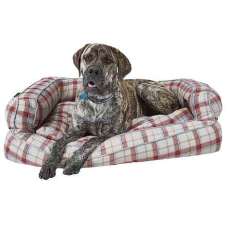 """Live Love Bark Neutral Plaid Bolster Dog Bed - 43x29"""" in Tan - Closeouts"""