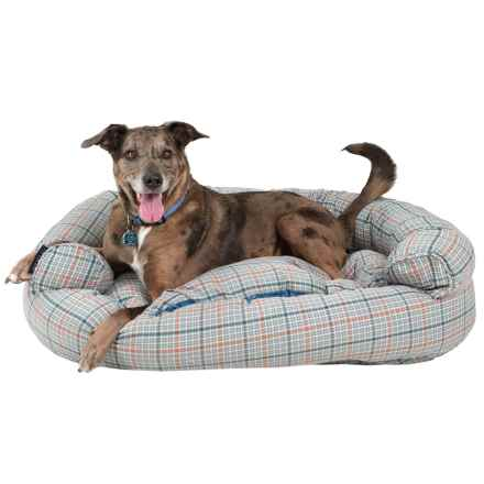 "Live Love Bark Window Plaid Round Couch Bolster Dog Bed - 48x36"" in Steele Blue - Closeouts"