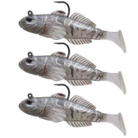 """Live Target Goby Paddle Tail Lure - 3-Pack, 3-5/8"""" in Black/Smoke Paddle Tail"""