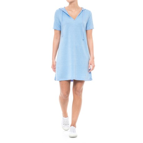 Liz and Sarp Hoodie Dress - Short Sleeve (For Women) in Cornflower Blue