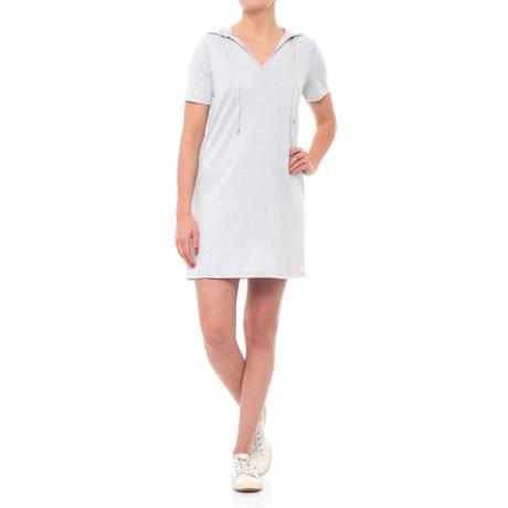 Liz and Sarp Hoodie Dress - Short Sleeve (For Women) in Grey