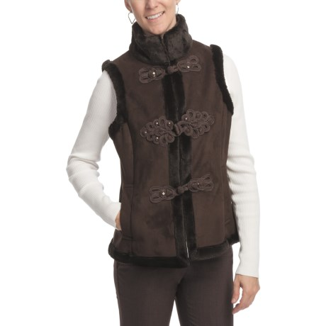 LNR Faux-Suede Vest - Furry Pile Lining (For Women) in Brown