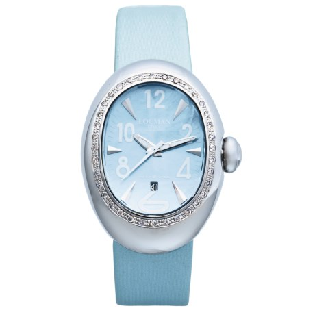 Locman Nuovo Diamond Bezel Watch - Mother-of-Pearl Dial (For Women) in Light Blue Satin