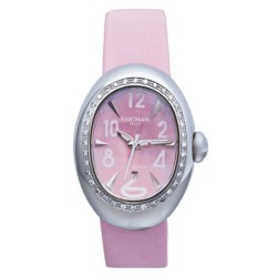 Locman Nuovo Diamond Bezel Watch - Mother-of-Pearl Dial (For Women) in Pink Satin
