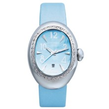 Locman Nuovo Diamond Bezel Watch - Mother-of-Pearl Dial (For Women) in Sky Satin - 2nds