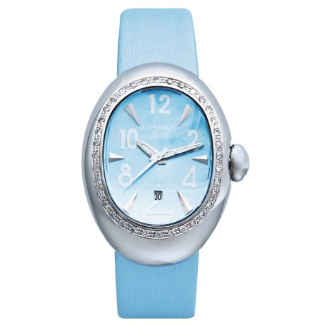 Locman Nuovo Diamond Bezel Watch - Mother-of-Pearl Dial (For Women) in Sky Satin