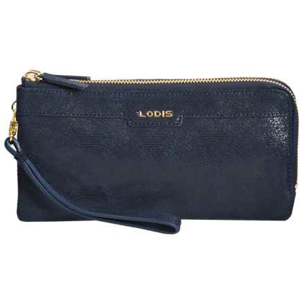 Lodis Kennedy Double-Zip RFID Wristlet - Italian Leather (For Women) in Blue Lace - Closeouts