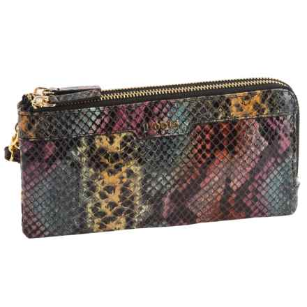 Lodis Kennedy Double-Zip RFID Wristlet - Italian Leather (For Women) in Multi Snake - Closeouts