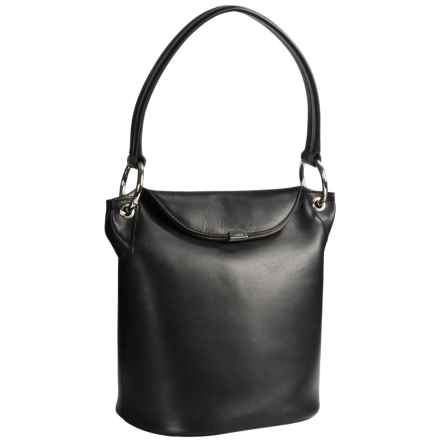 Lodis Lainy Convertible Bucket Bag - Italian Leather in Black - Closeouts