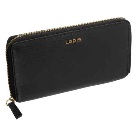 Lodis Niki Leather Zip-Around RFID Wallet (For Women) in Black - Closeouts