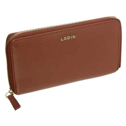 Lodis Niki Leather Zip-Around RFID Wallet (For Women) in Toffee - Closeouts