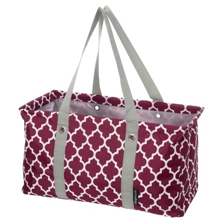 Logo Brands Plain Maroon Quatrefoil Picnic Caddy in Maroon
