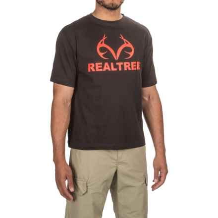 Logo-Print T-Shirt - Short Sleeve (For Men) in Black/Orange - 2nds