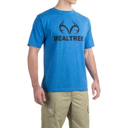 Logo-Print T-Shirt - Short Sleeve (For Men) in Blue Heather/Black - 2nds