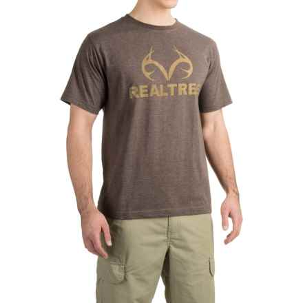 Logo-Print T-Shirt - Short Sleeve (For Men) in Brown Heather/Olive - 2nds