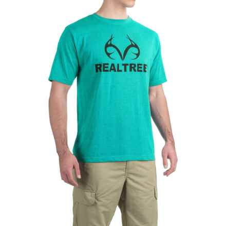 Logo-Print T-Shirt - Short Sleeve (For Men) in Turquoise Heather/Black - 2nds