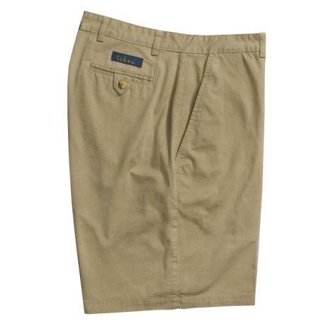 Lokee Cotton Shorts - Flat Front (For Men) in Khaki