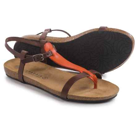 Lola Sabbia for Eric Michael Lotus Strappy Sandals - Leather (For Women) in Brown/Orange - Closeouts