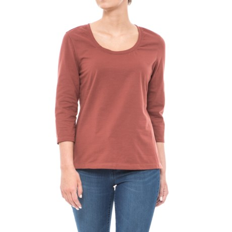 Lola Stretch Cotton T-Shirt - 3/4 Sleeve (For Women)