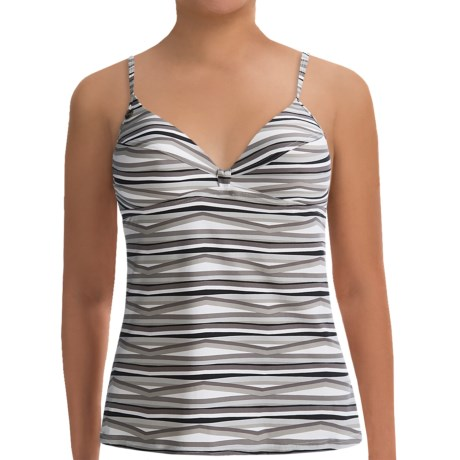 Lole Argentina Tankini Top - UPF 50+, Underwire (For Women) in Black Stripes