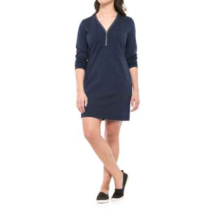 Lole Babe Zip V-Neck Dress - Long Sleeve (For Women) in Amalfi Blue - Closeouts