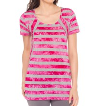 Lole Bea Scoop Neck T-Shirt - Short Sleeve (For Women) in Rhubarb Stripe - Closeouts