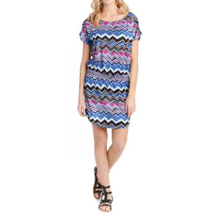 Lole Brodie Dress - UPF 50+, Short Sleeve (For Women) in Dazzling Blue Chevron Stripe - Closeouts