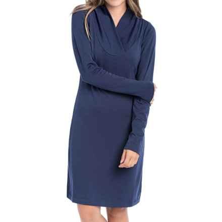 Lole Calm Shawl Collar Dress - Long Sleeve (For Women) in Amalfi Blue - Closeouts