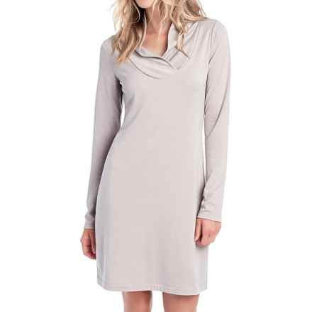 Lole Calm Shawl Collar Dress - Long Sleeve (For Women) in Warm Grey Heather - Closeouts