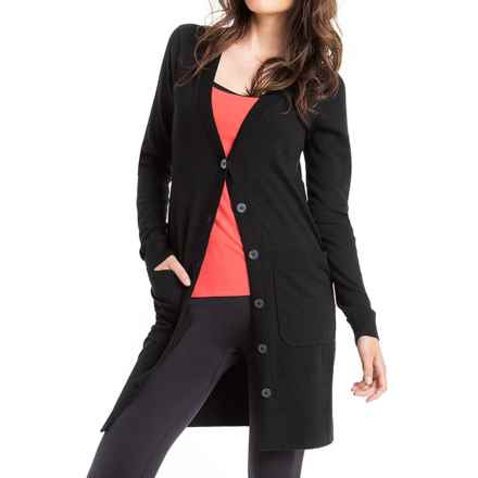 Lole Colette Long Cardigan Sweater - UPF 50+ (For Women) in Black - Closeouts