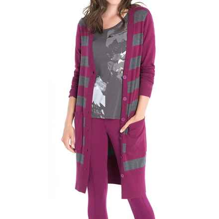 Lole Colette Long Cardigan Sweater - UPF 50+ (For Women) in Mulberry Stripe - Closeouts