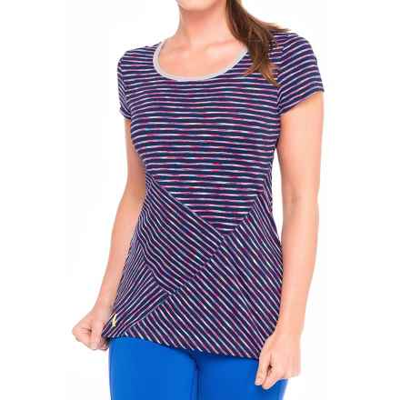 Lole Curl T-Shirt - UPF 50+, Short Sleeve (For Women) in Blueberry Stripe - Closeouts