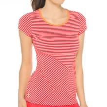 Lole Curl T-Shirt - UPF 50+, Short Sleeve (For Women) in Campari Stripe - Closeouts