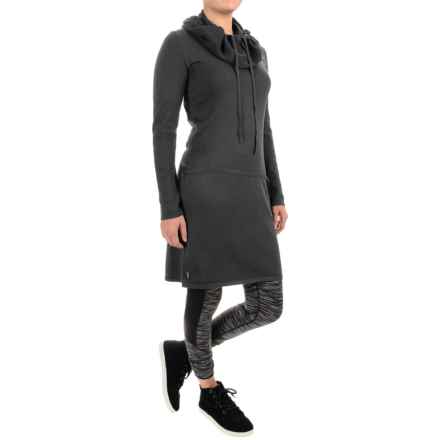 Lole Gala Cowl Neck Dress - Long Sleeve (For Women) in Dark Charcoal Heather - Closeouts