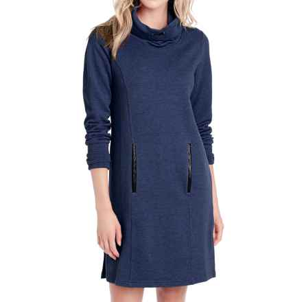 Lole Gray Funnel Neck Fleece Dress - Long Sleeve (For Women) in Amalfi Blue Heather - Closeouts