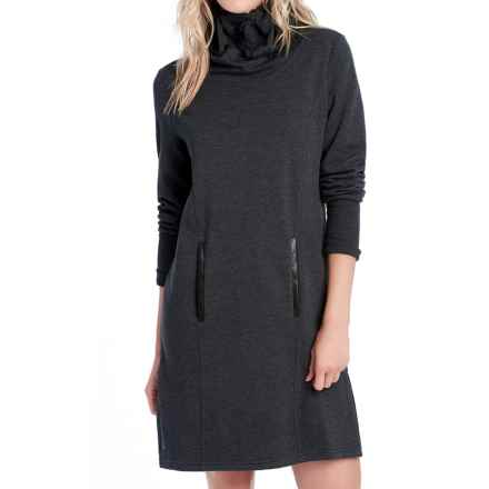 Lole Gray Funnel Neck Fleece Dress - Long Sleeve (For Women) in Black Heather - Closeouts
