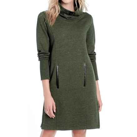 Lole Gray Funnel Neck Fleece Dress - Long Sleeve (For Women) in Greens Heather - Closeouts