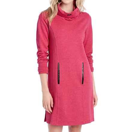 Lole Gray Funnel Neck Fleece Dress - Long Sleeve (For Women) in Red Sea Heather - Closeouts