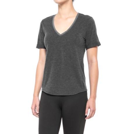 Lole Kesha T-Shirt - V-Neck, Short Sleeve (For Women) in Black Heather