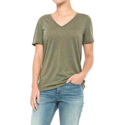 Lole Lauren T-Shirt - V-Neck, Short Sleeve (For Women) in Khaki Heather - Closeouts
