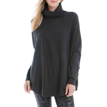 Lole Miki Round Hem Turtleneck Poncho - Cotton Blend, Long Sleeve (For Women) in Black Heather - Closeouts
