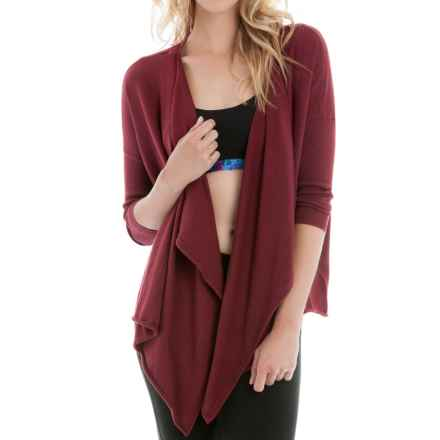 Lole Murielle Draped Cardigan Sweater (For Women) in Rumba Red Heather - Closeouts