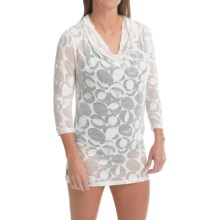 Lole Sheer Burnout Shirt - Draped Neck, Long Sleeve (For Women) in White Gelato - Closeouts