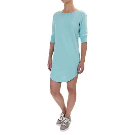 Lole Sika Cozy Terry-Knit Dress - 3/4 Sleeve (For Women) in Aqua Splash Heather - Closeouts