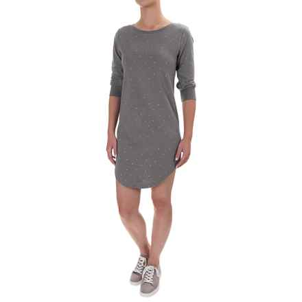 Lole Sika Cozy Terry-Knit Dress - 3/4 Sleeve (For Women) in Warm Grey Heather - Closeouts