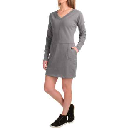 Lole Sohan Dress - V-Neck, Long Sleeve (For Women) in Medium Grey Heather - Closeouts