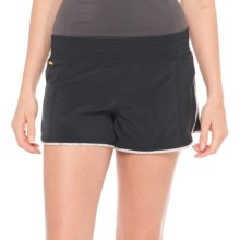 Lole Step Shorts - UPF 50+, Low Rise (For Women) in Black/Grey Block - Closeouts