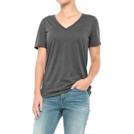 Lole T-Shirt - V-Neck, Short Sleeve (For Women) in Black Heather - Closeouts
