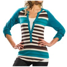 Lole Theory Stripe Henley Shirt - Stretch Organic Cotton, Long Sleeve (For Women) in Hydro/Enamel Stripe - Closeouts